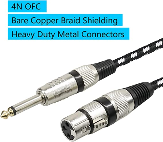 """1 Microphone Cable XLR Female to 1//4/"""" TS Cables,Furui Nylon Braided 6.35mm"""