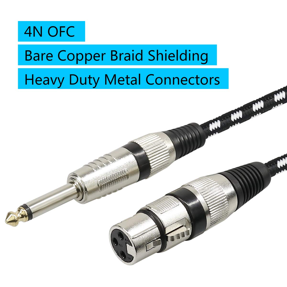 Microphone Cable XLR Female to 1/4'' TS Cables,Furui Nylon Braided 6.35mm (1/4 Inch) TS to XLR Cable (XLR Female to TS Male Unbalanced Cable) Gold-Plated Connectors - 25 Feet