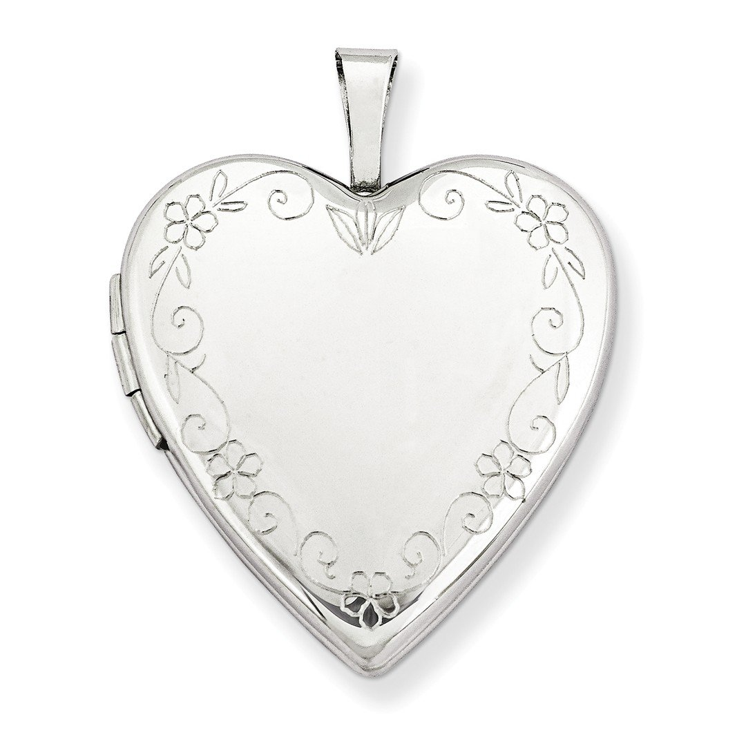 ICE CARATS 14k 20mm White Gold Flower Vine Border Heart Photo Pendant Charm Locket Chain Necklace That Holds Pictures Fine Jewelry Gift Set For Women Heart