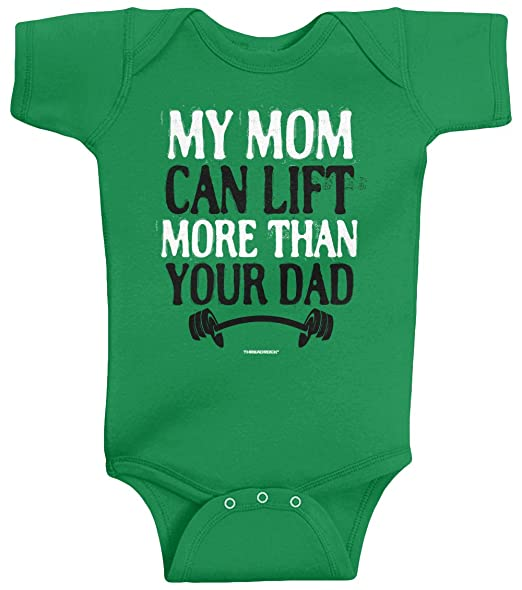 383b02808 Amazon.com: Threadrock Unisex Baby My Mom Can Lift More Than Your Dad  Bodysuit: Clothing
