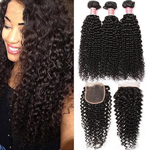 Pizazz Brazilian Curly Hair with Closure Unprocessed Brazilian Virgin Hair 3 Bundles with Closure Free Part 100% Human Hair Natural Black Color(14 16 18+12)
