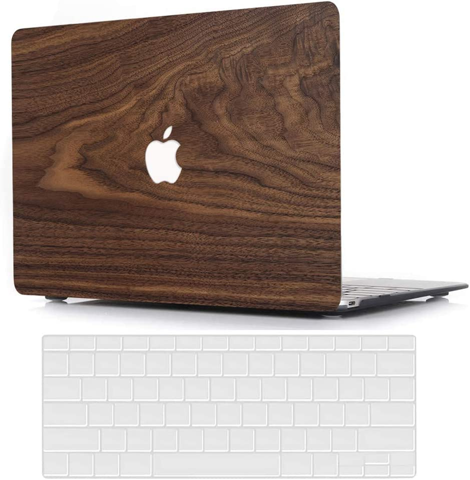 MacBook Air 11 Inch Case Model A1370 A1465, AJYX Plastic Hard Shell Case Bundle with Transparent Keyboard Cover for Laptop Mac Air 11,Wood Grain
