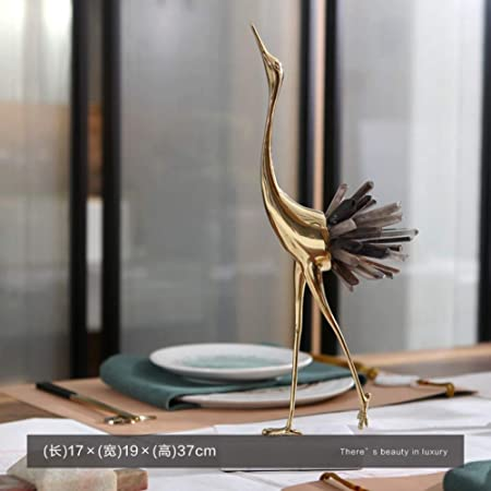 Bozny Sculpture Statue Luxurious Copper Flamingo Statue Sculpture With White Blue Crystal Tail Home Art Gift Figurines Home Decor Marble Accessories Amazon Co Uk Kitchen Home