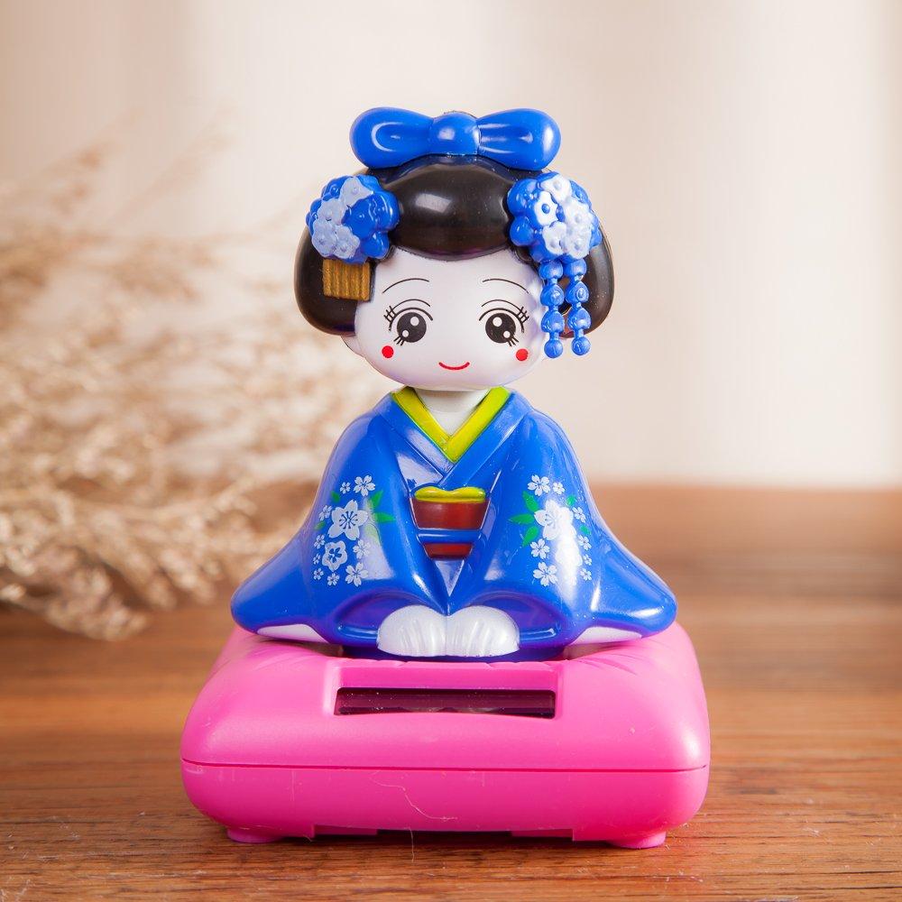 Solar Powered Bobblehead Toy Figure Nohohon Blue THY COLLECTIBLES Japanese Kimono Maiko Geisha