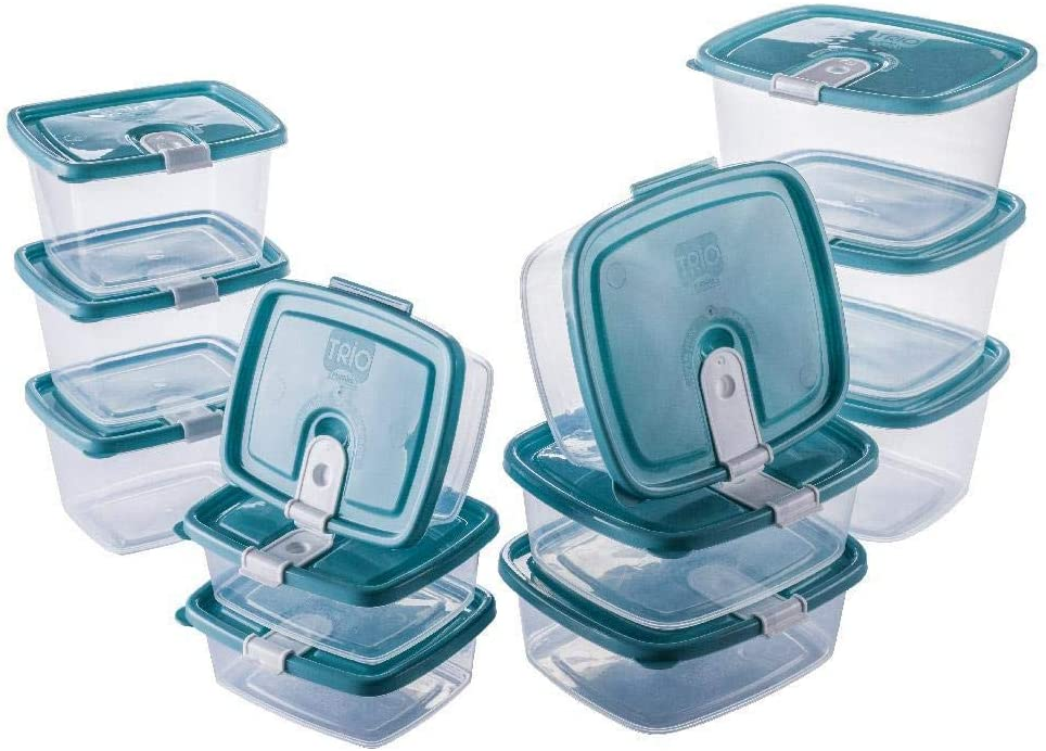 Plastic Food Storage Containers w/attached Lids. Multi sizes Containers. Microwave/Freezer & Dishwasher Safe - Steam Release Valve. BPA/Free (12, Light Blue)