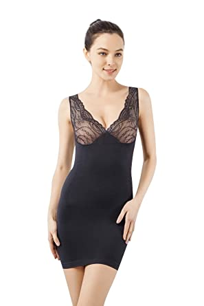 ed1790724f6 MD Women s Shapewear Nylon Short Full Length Firm Control Slip Body Shaper  BlackS