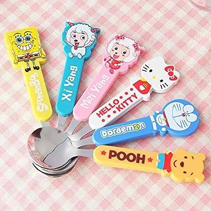 Kieana Spoon Fork With Doremon Phooh Hello Kitty Toy Shape Handle For Return Gifts