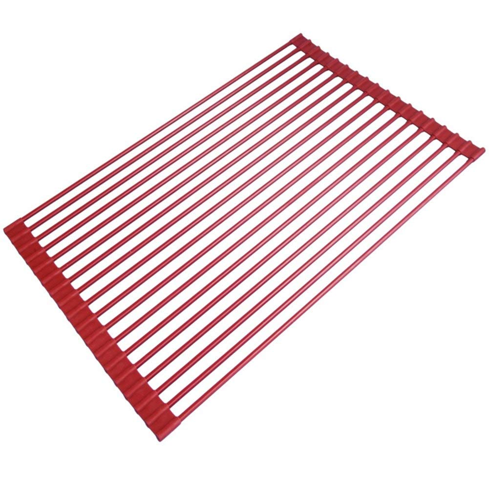 Collapsible Silicone Sink Drain Rack Kitchen Sink Drain Basket Water Filter Rack Stainless Steel High Temperature Resistant 5233cm (Color : Red, Size : 5233cm)