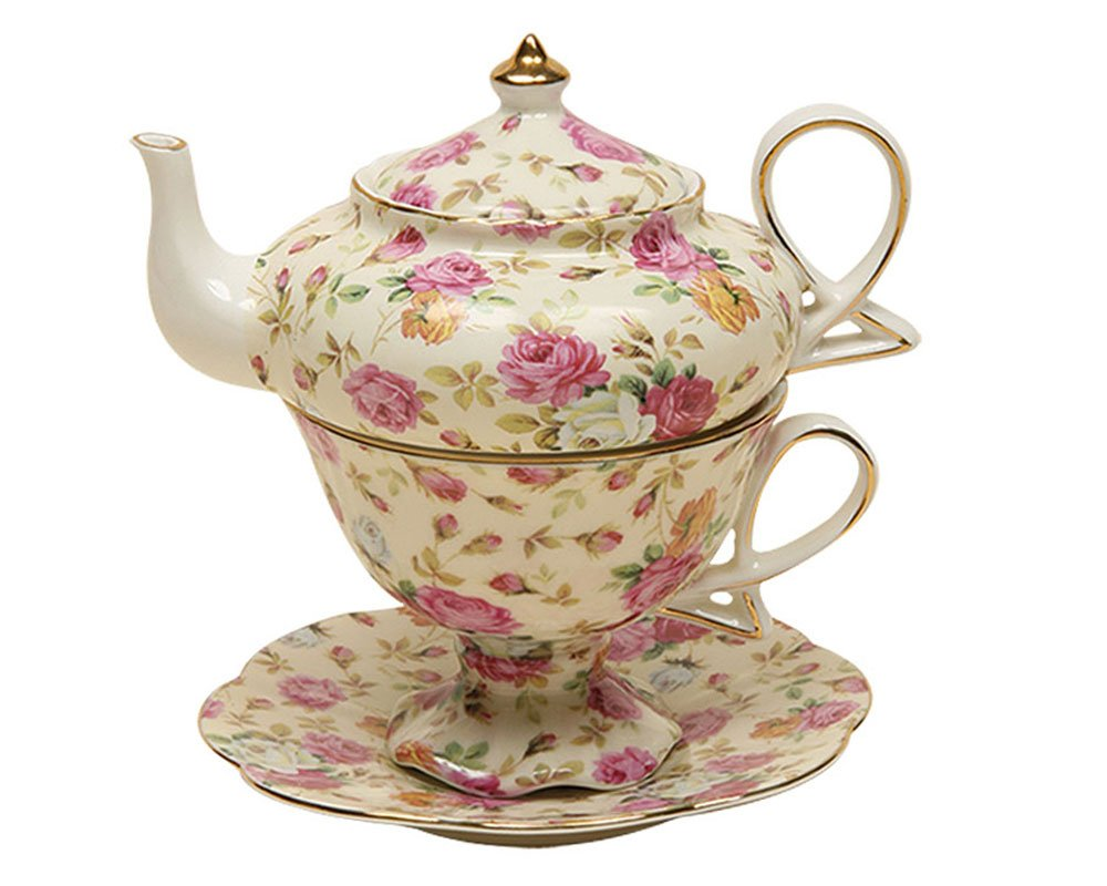 Gracie China by Coastline Imports 4-Piece Porcelain Tea for One, Stacked Teapot Cup Saucer, Blue Cottage Rose Chintz 33712-2