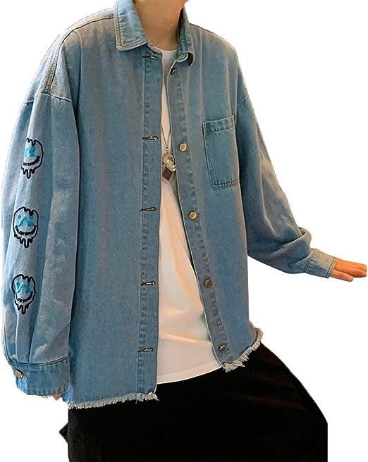 ほつれたハーバースタイルのメンズデニムジャケット、ラバーズパッチ刺繍ジャケット、ルーズ秋のジャケット、メンズカジュアルジャケット