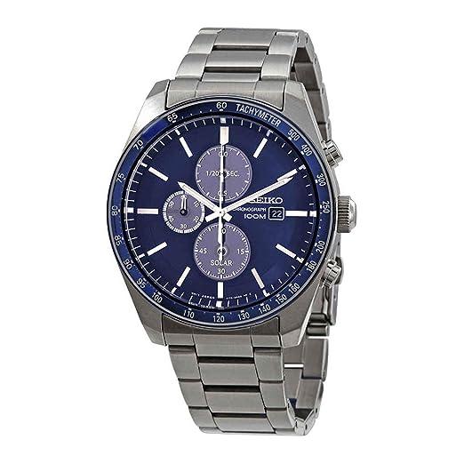 Seiko Solar Reloj para Hombre Analógico de Solar con Brazalete de Acero Inoxidable SSC719P1: Amazon.es: Relojes