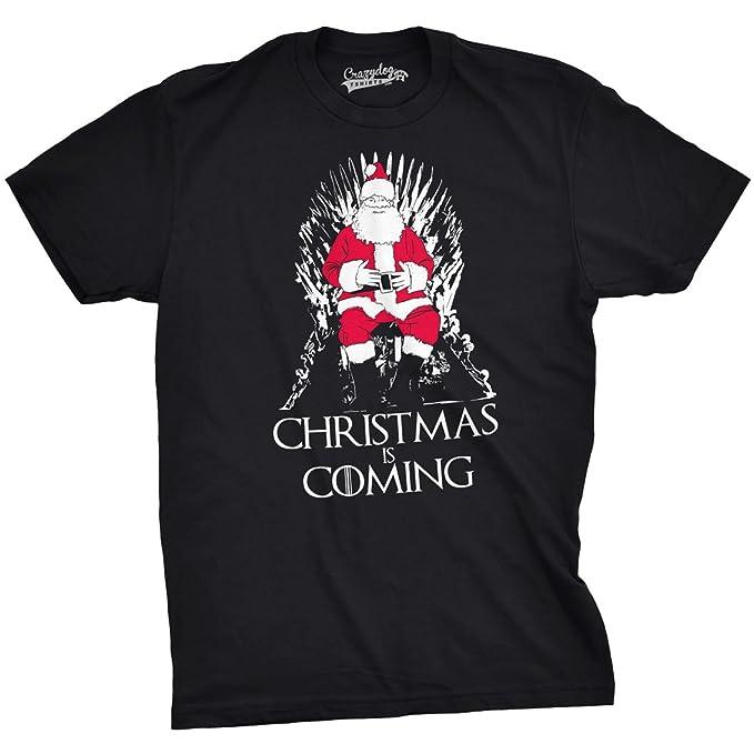 7afa9326d1 Mens Christmas is Coming Santa Claus on Throne TV Show Parody Holiday T  Shirt (Black