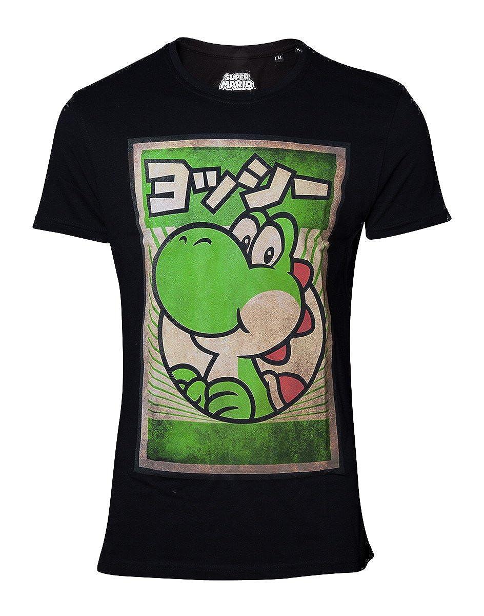 Super Mario Maglietta da Uomo Yoshi Poster di Propaganda in Cotone Nero