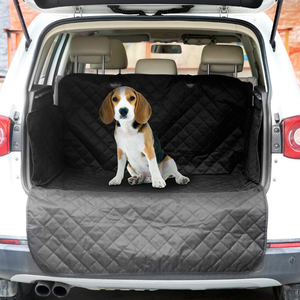 Arkmiido Car Boot Liner Protector, Heavy Duty Universal Waterproof 2 in 1 Car Boot Cover for Dogs Pet,Rear Car Back Seat Protection Mat with Side Protection Bumpers,187 * 171cm