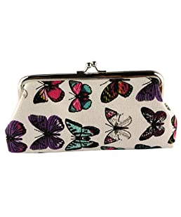 Polytree Women's Ladies Butterflies Printed Coin Purse Canvas Pouch Cloth Buckle Clutch (White)