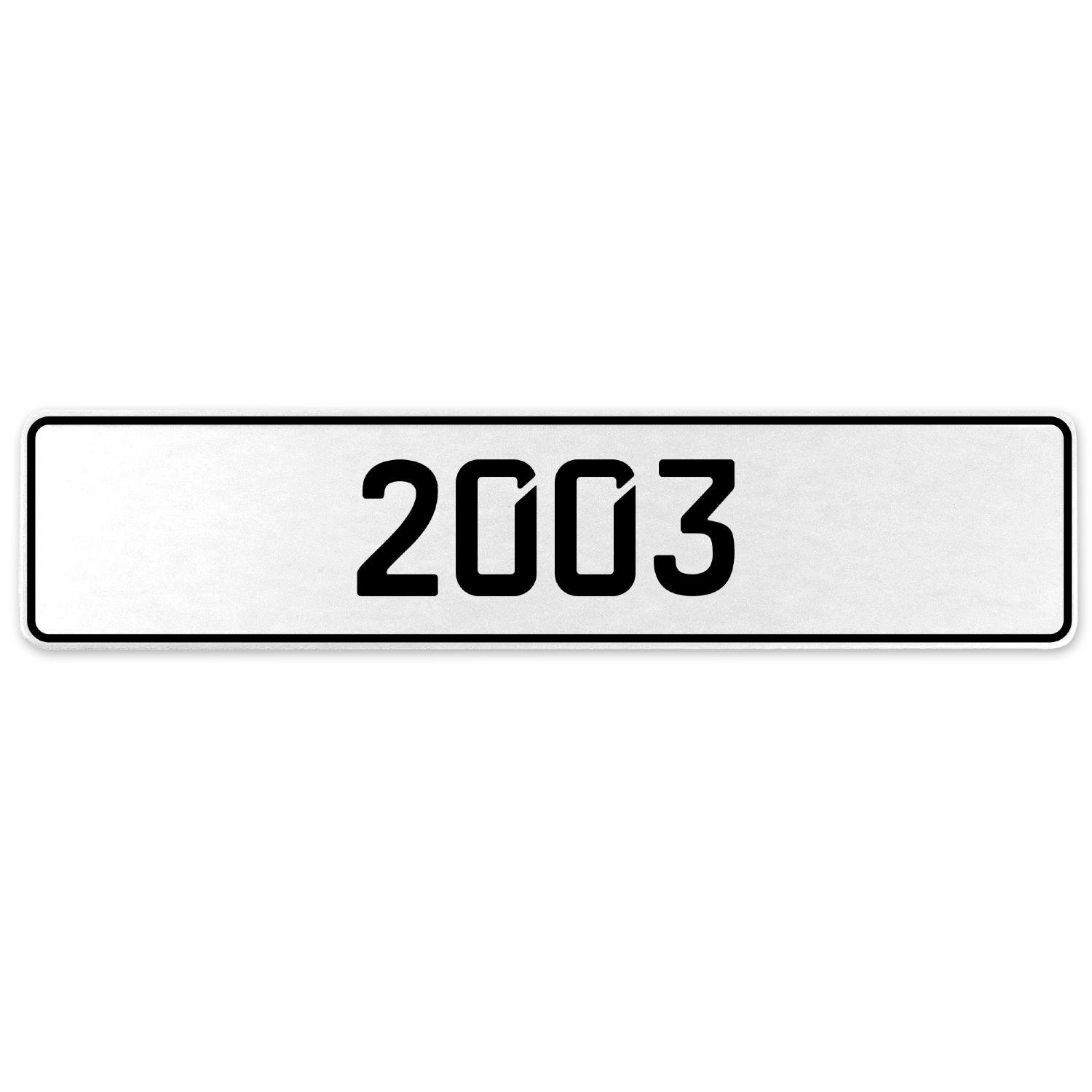 Vintage Parts 553246 2003 Year White Stamped Aluminum European License Plate