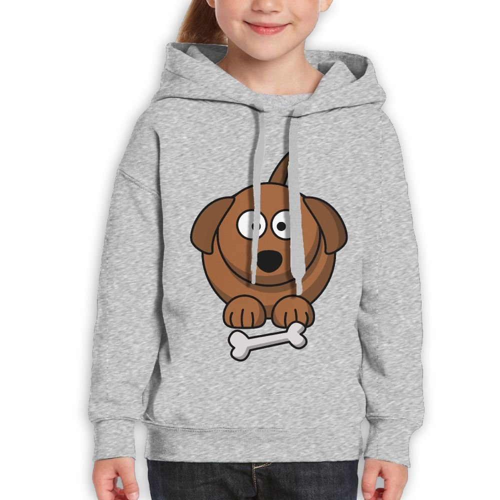 Fashion Girl's Sweatshirts,Comfortable Brown Dog Bone Animals Cotton Hooded Pullover For Child