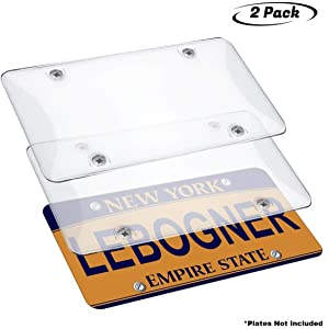 35ee35d41e6a lebogner Car License Plates Shields 2 Pack Clear Bubble Design Novelty  Plate Covers to Fit Any