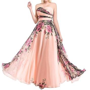 LaoZan Mujer Vestidos de Fiesta para Bodas Floral Bustier Elegante y Encantador - 2XL
