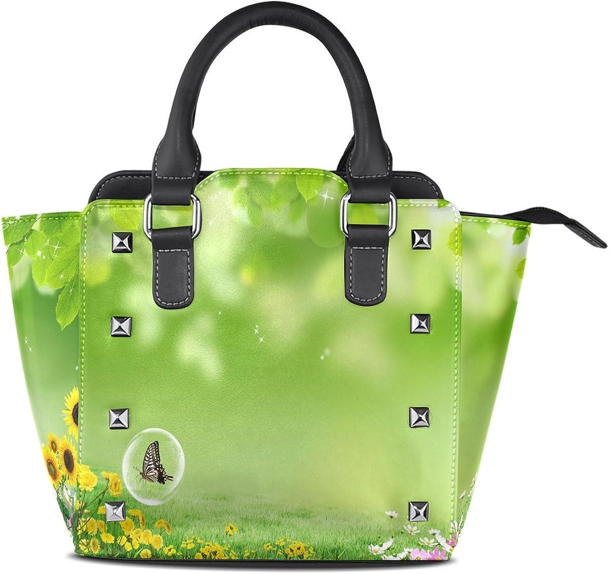 Jennifer Butterfly Flowers Spring Landscape PU Leather Top-Handle Handbags Single-Shoulder Tote Crossbody Bag Messenger Bags For Women