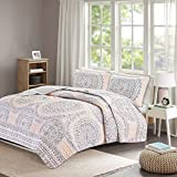 Bedding Sets Twin & Twin Xl - Quilt/Coverlet Set - 2 Pieces - Blush/Pink/Grey - Printed Medallions - Lightweight Twin Size Bedding Sets For Girls - Bedspread Fits Twin & Twin Xl - Adele