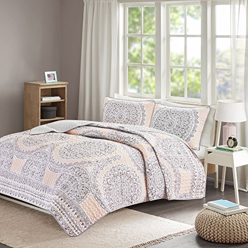 Bedding Sets Twin & Twin Xl - Quilt/Coverlet Set - 2 Pieces - Blush/Pink/Grey - Printed Medallions - Lightweight Twin Size Bedding Sets For Girls - Bedspread Fits Twin & Twin Xl - Adele by Comfort Spaces (Image #8)