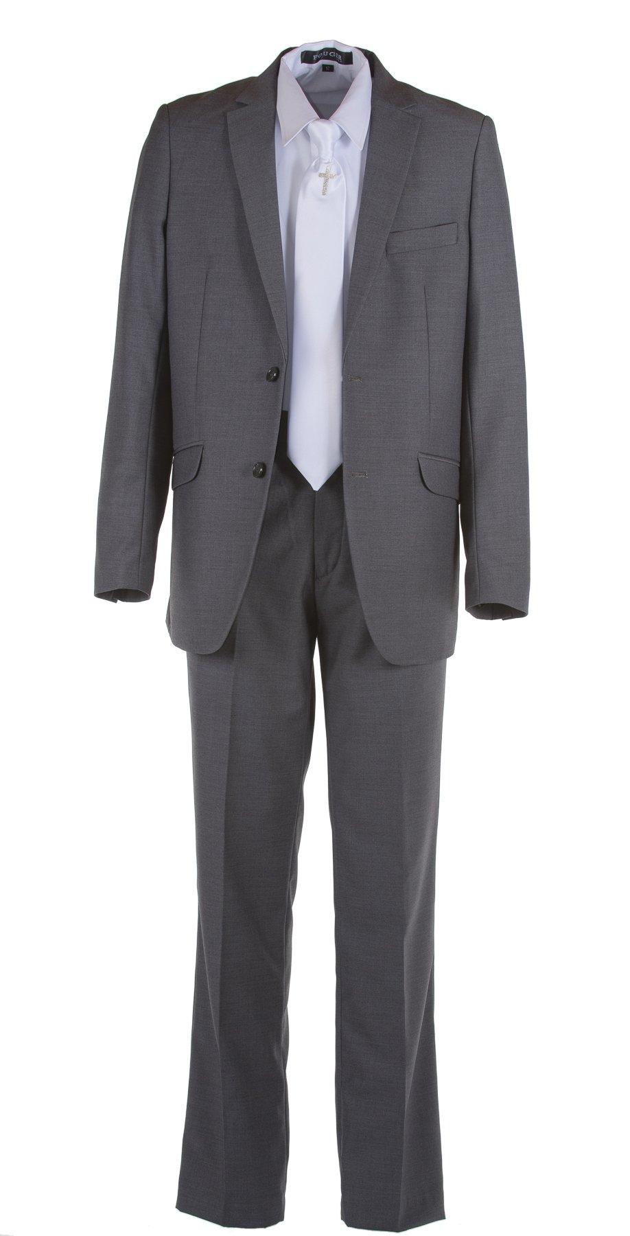 Tuxgear Boys Dark Grey Slim Fit Communion Suit With Silver Cross Dress Tie (Boys 7)
