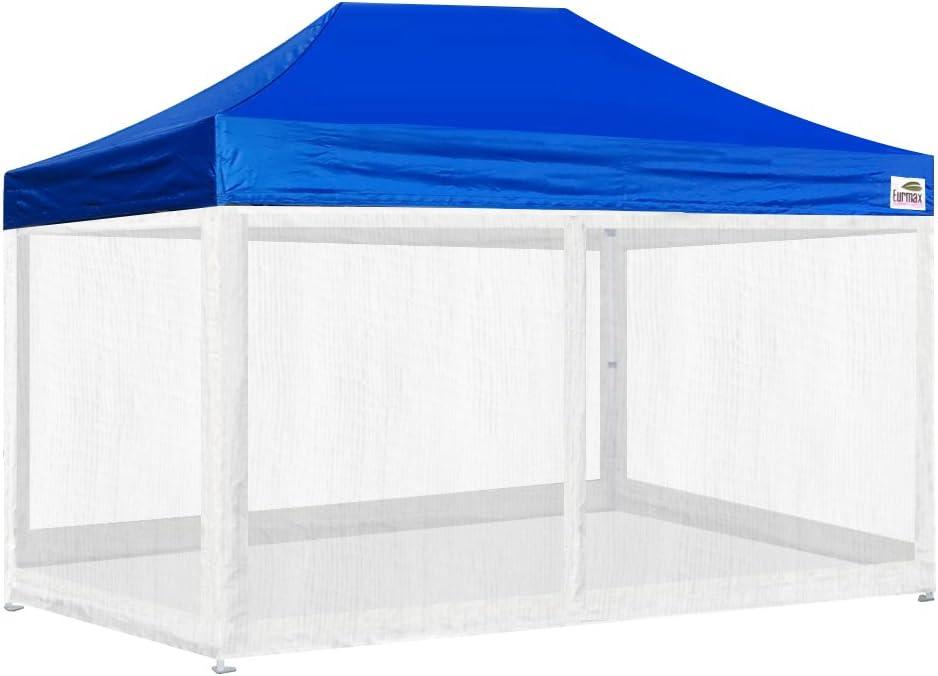 Eurmax 10x15フィート プレミアム ポップアップ キャノピー インスタントシェルター 商用グレード 屋外パーティーテント ガゼボ 取り外し可能なファスナースクリーン側壁4個付き ボーナスローラーバッグ ブルー