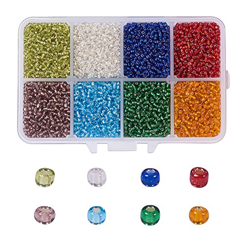 NBEADS 1 Box 8 Color 12/0 Round Glass Seed Beads 2mm Loose Spacer Beads Pony Beads with Hole for DIY Craft Bracelet Necklace Jewelry Making -
