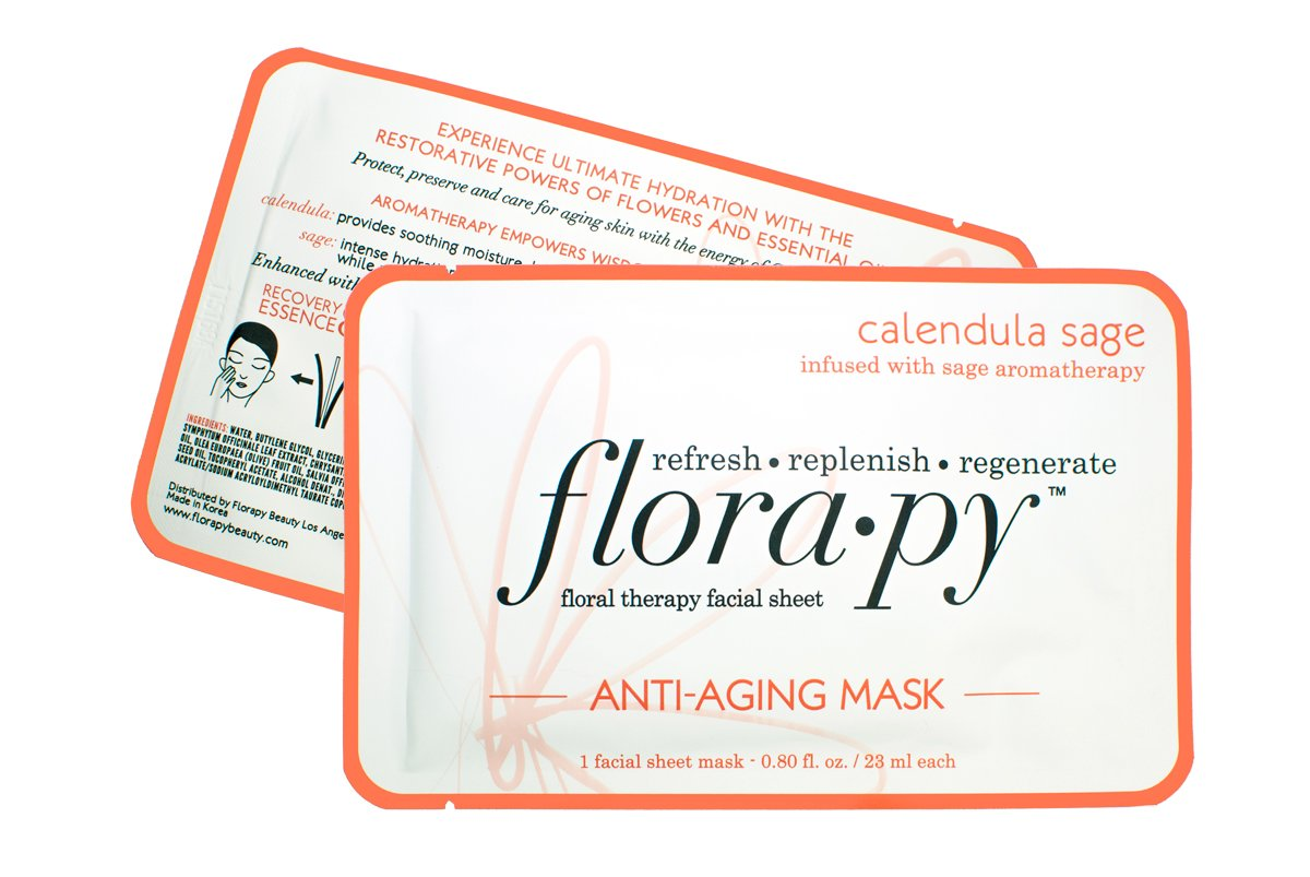 Aromatherapy Facial Sheet Mask - Hydrating - Essential Oils - Anti Aging Calendula Sage by Florapy Beauty