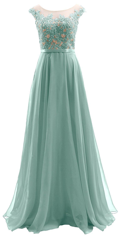 MACloth Cap Sleeves Illusion Long Prom Dress Lace Chiffon