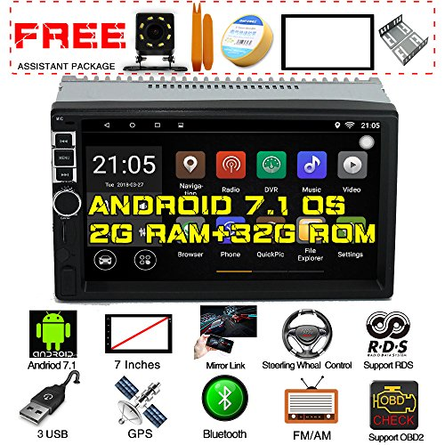 Cheap Upgraded Android 7.1 Quad Core CPU 2G Ram 32G Rom 7 Inch Touch Screen In Dash Double Din Car Stereo GPS Navigation WiFi Bluetooth Radio Headunit With Free Rear Camera And Car Tuning Tools