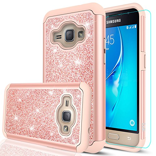 Samsung Galaxy J1 2016 Case (Not Fit 2015),Galaxy Luna/Express 3 / Amp 2 Case with HD Screen Protector,LeYi Glitter Girls Women Dual Layer Heavy Duty Protective Case for Galaxy Luna TP Rose Gold