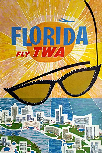 "Digital Fusion Prints Vintage TWA Florida Travel Poster 24""x"