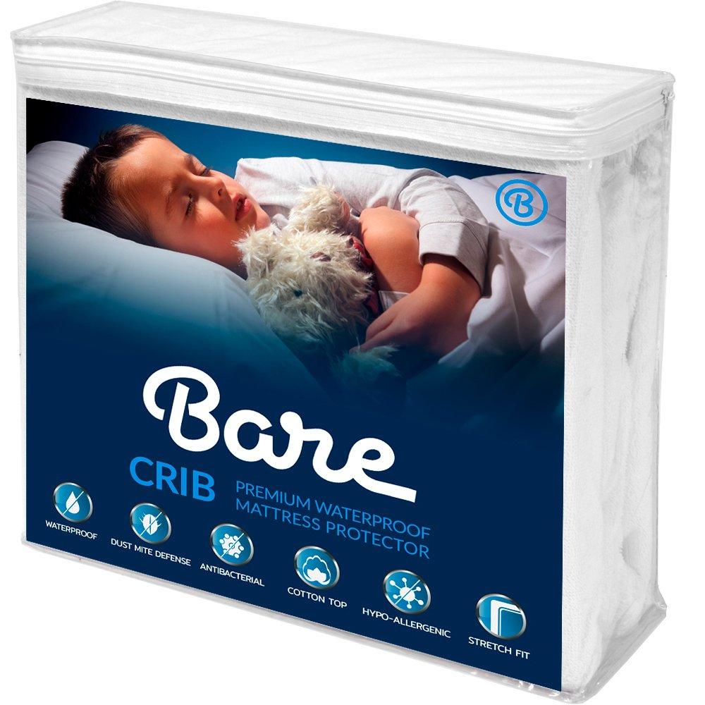 Bare Home Crib Size Premium Mattress Protector - 100% Waterproof - Vinyl Free Hypoallergenic - 10 Year Warranty - (Crib, White)