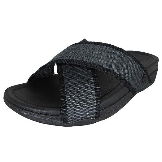 FitFlop Mens Surfer Slide Open Toe Sandal Shoes, Cool Grey, US 11