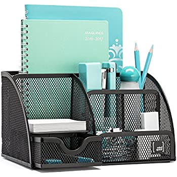 Mindspace Office Desk Organizer with 6 Compartments + Drawer   The Mesh Collection, Black
