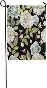 daoyiqi Garden Flags Funny Flag Seasonal Flag 12x18 Inches Colorful Floral Watercolor Pattern Flowers Hydrangeas and Roses Green Botanical Outdoor Decorative House Welcome Garden Flag Seasonal