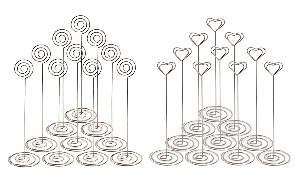 NXG 20 Pack 8.75 Inch Tall Place Card Holders Creative Photo Holder Chrome Plated Metal Funny Heart and Vortex Clip Desktop Decoration Memo Holder Stand Tabletop Card Holder NX Garden