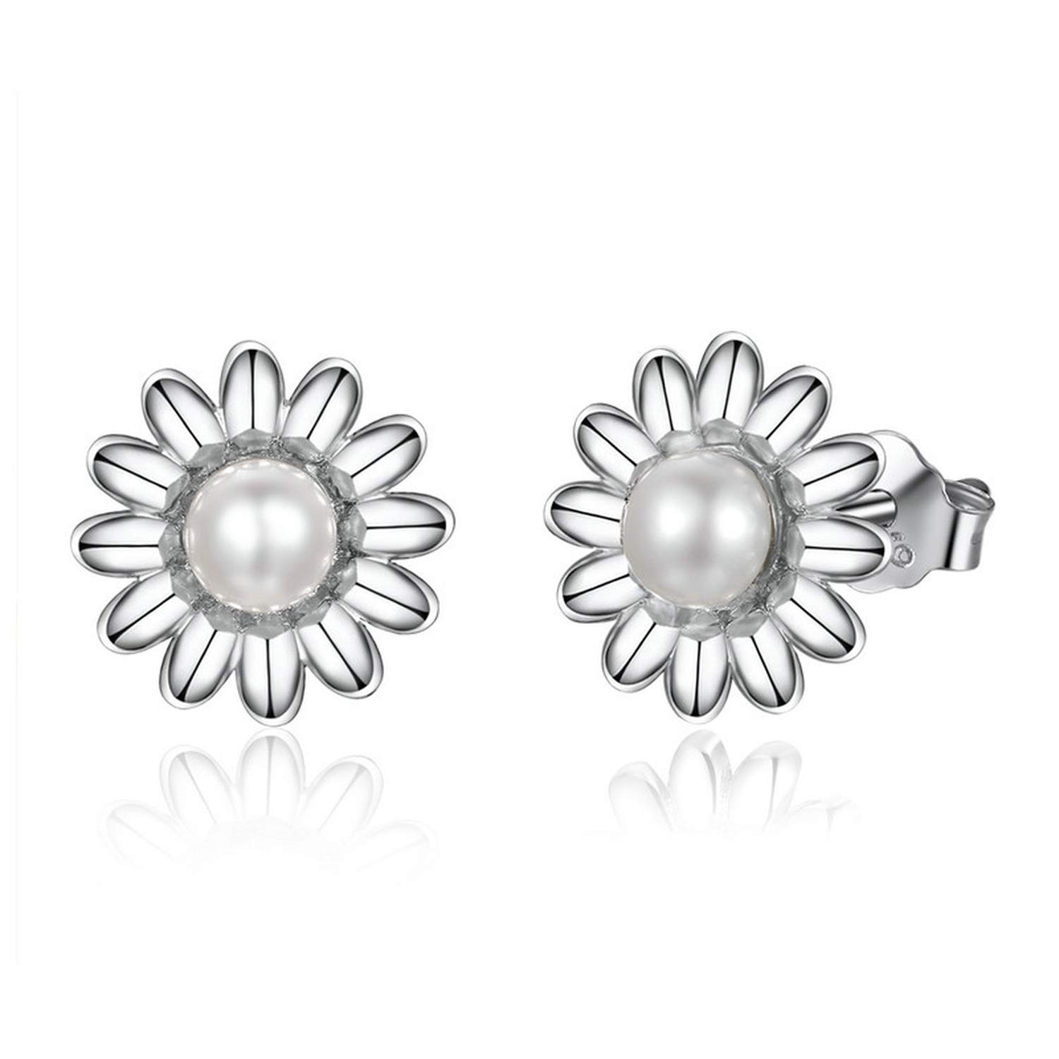 Vintage Genuine 925 Sterling Silver Round Shape Pearl Stud Earrings For Women Wedding Engagement Fine Jewelry Gift