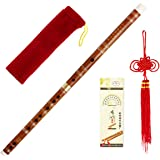 Kmise Pluggable Chinese Transverse Bitter Bamboo Flute Dizi Traditional Handmade Bamboo Flute Dizi (D Key, 3-year)