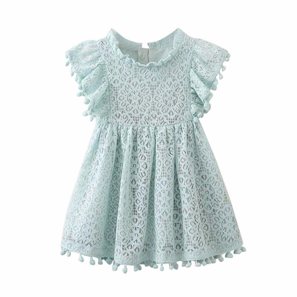 Baby Clearance Flower Girl Lace Dress Tassel Ruffle Sleeves Beach Swing Dress for Summer Yamally Yamally_9R