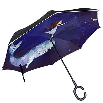 ALAZA niña ballena azul noche estrellada Sky paraguas invertido doble capa resistente al viento Reverse paraguas