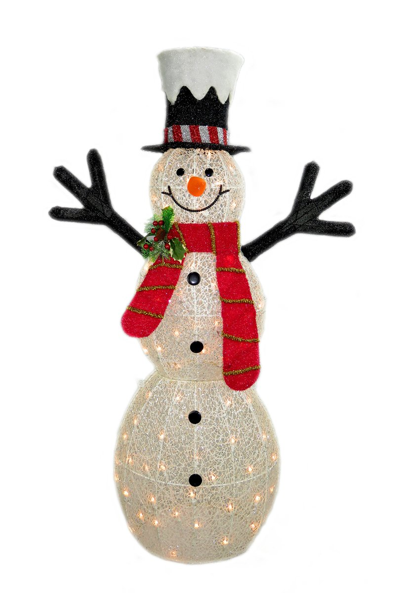 48'' 3D White Glittered Snowman with 70L Indoor/outdoor clear lights - Christmas home & Yard art decoration by MZHF-X'MAS