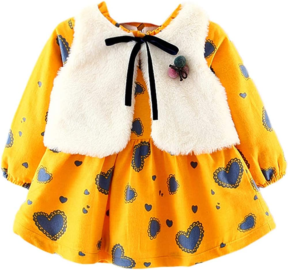 Winter Girl Outfits,Fineser Adorable Toddler Kids Baby Girls Long Sleeve Heart Print Dress+Bow Waistcoat Sweater 3 Color
