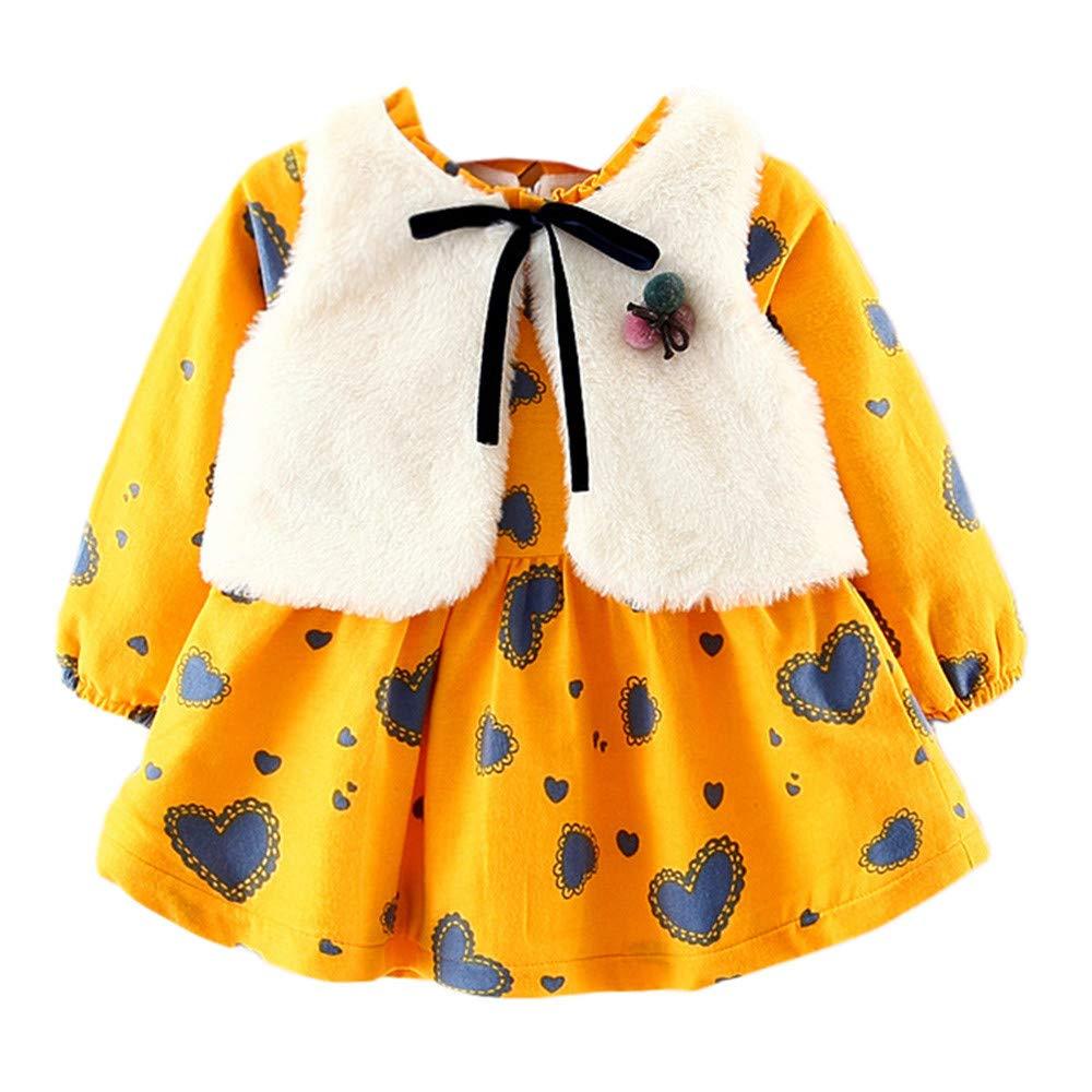 Fiaya Girls Cartoon Warm Long Sleeve Princess Dress+Faux Fur Vest Waistcoat Outfits Set   NB-24M (Yellow, 0-6 Months)