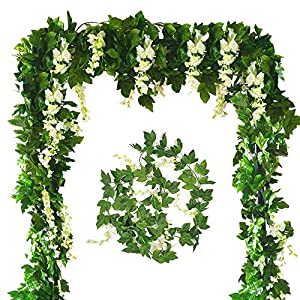 Zpollo 4 Pcs Artificial Flowers 7.2ft Silk Wisteria Ivy Vine Green Leaf Hanging Vine Garland for Wedding Party Home Garden Wall Decoration (White) 12
