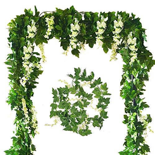 Zpollo 4 Pcs Artificial Flowers 7.2ft Silk Wisteria Ivy Vine Green Leaf Hanging Vine Garland for Wedding Party Home Garden Wall Decoration (White) from Zpollo