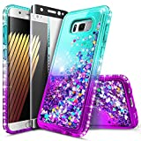 Galaxy S8+ Plus Case with Screen Protector (Full Coverage 3D PET) for Girls Women Kids, NageBee Glitter Liquid Sparkle Bling Floating Waterfall Cute Case for Samsung Galaxy S8+ Plus -Aqua/Purple