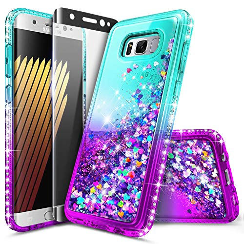 - Galaxy S8 Glitter Case, NageBee Liquid Quicksand Waterfall Floating Flowing Sparkle Shiny Bling Diamond Shockproof Girls Cute Case w/[Screen Protector Premium Clear] for Samsung Galaxy S8 -Aqua/Purple